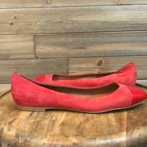 Shoes of Prey Red Suede Ballet Flat Size 11